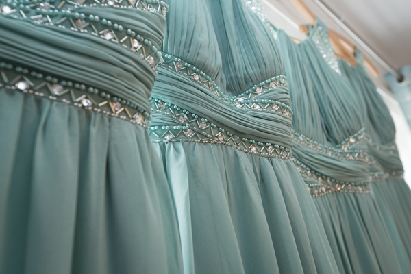 Light green bridesmaid dresses from Dorothy Perkins with bead detail