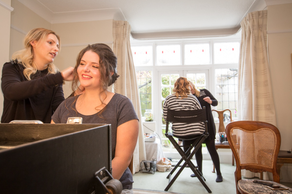 Bridal party having hair and makeup done by Jenn Edwards & Co.