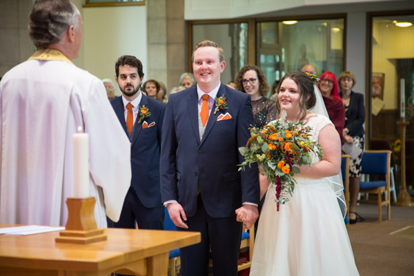 Bride and Groom at the alter of St Andrews Church Psalter Road Sheffield during their wedding ceremony
