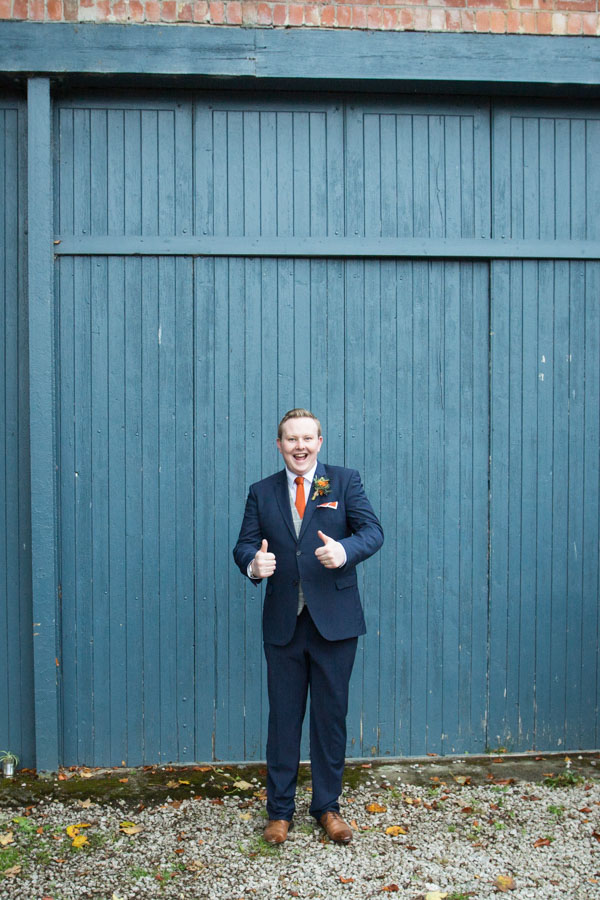 Groom outside the Barn at Horsleygate Hall Derbyshire