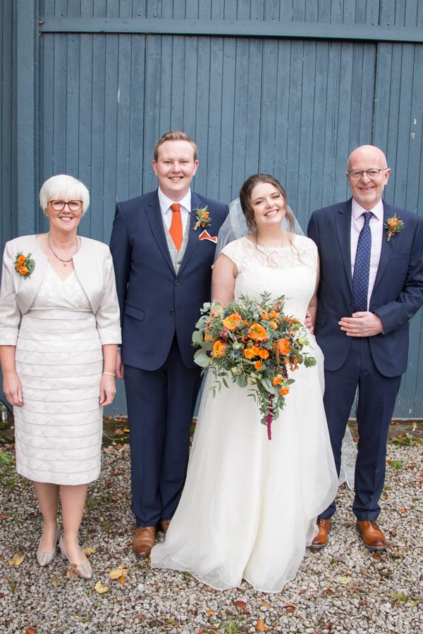 Guests outside the barn at Horsleygate Hall Derbyshire
