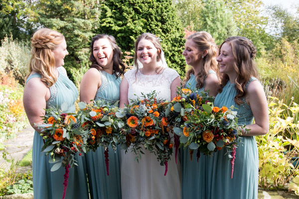 Bride and Bridesmaids in the grounds of Horsleygate Hall Derbyshire