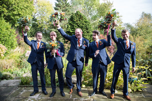 Groom and Groomsmen in the grounds of Horsleygate Hall Derbyshire
