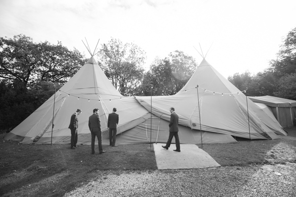 Groomsmen and the Tipi at Horsleygate Hall Derbyshire
