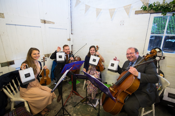 String quartet with hotel chocolat gift at Horselygate Hall Derbyshire
