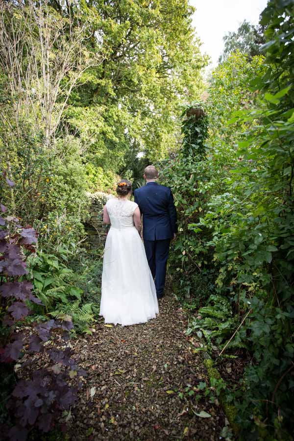 Bride and Groom in the grounds of Horsleygate Hall Derbyshire