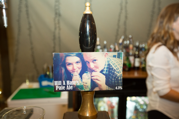 Bride and Groom personalised pale ale at their wedding reception