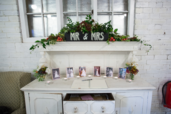 Mr & Mrs sign in the barn at Horselygate Hall Wedding