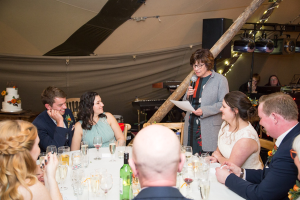 Mother of the bride giving a speech at Horsleygate Hall wedding