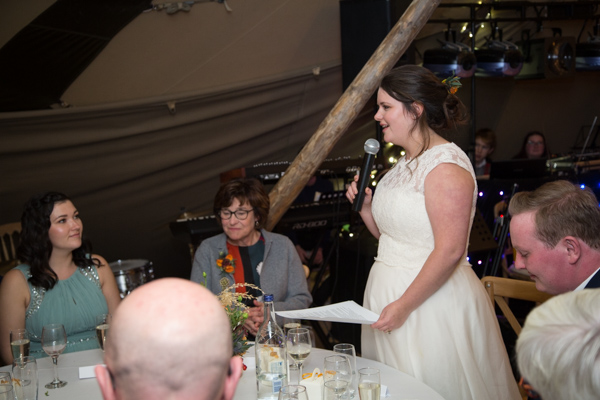 bride giving a speech at Horsleygate Hall wedding