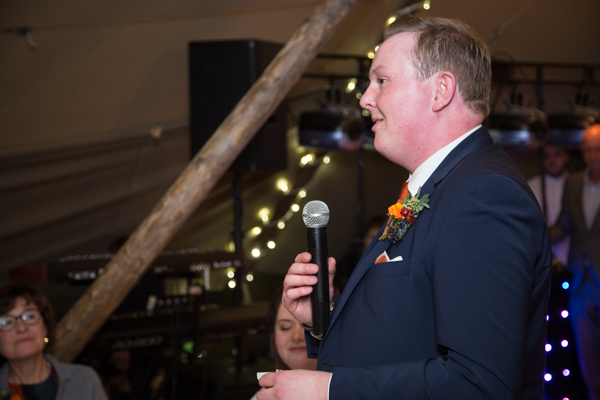 Groom giving a speech at Horsleygate Hall Wedding