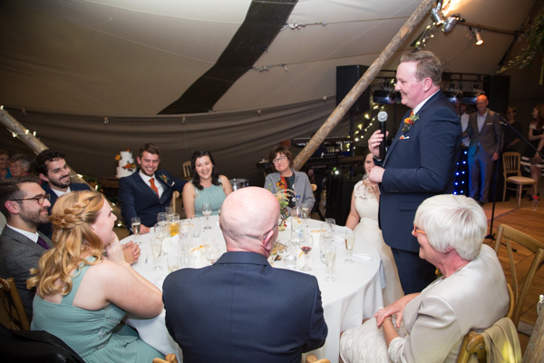 Groom giving a speech at Horsleygate Hall Wedding