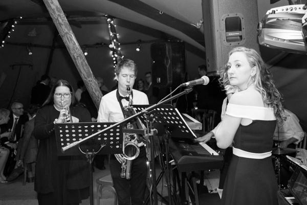 Band playing at Horleygate Hall wedding
