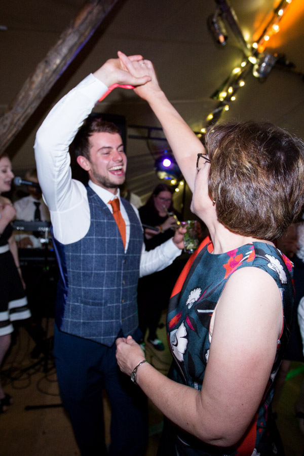 Guests dancing during Horsleygate Hall wedding
