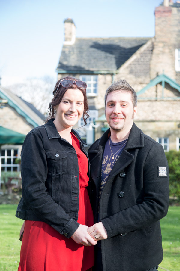 Couple in front of The Rockingham Arms Wentworth on their pre-wedding shoot