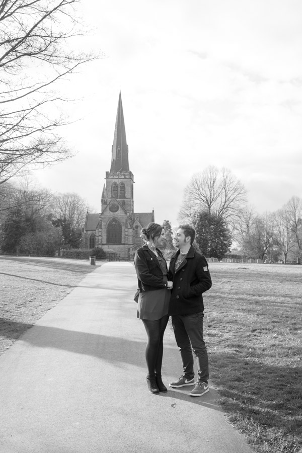 Couple standing in front of Wentworth church in April