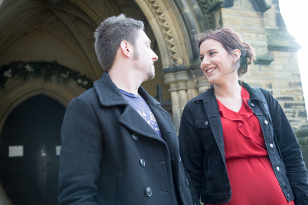 Bride and Groom to be standing on the steps of Wentworth Church