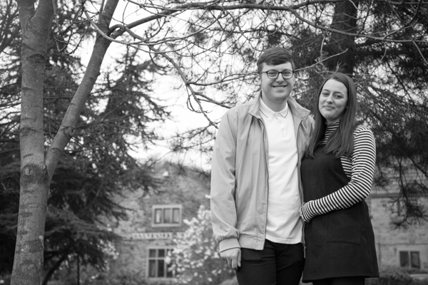 Couple in the grounds of Tankersley Manor on their pre-wedding session