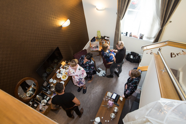 Bridal party getting ready for the wedding at Leopold Hotel Sheffield