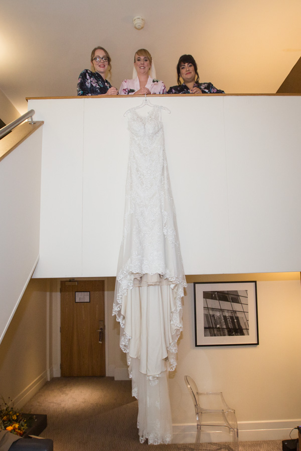 Briadesmaids with Bride and bridal gown at Leopold Hotel Sheffield