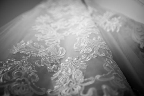 Bridal gown lace detail