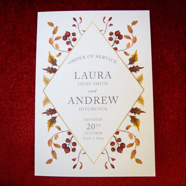 Laura and Andrew Order of service by Bonnie & Clyde Sheffiled