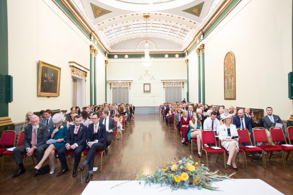Wedding guests in the wedding ceremony room at Cutlers' Hall Sheffield