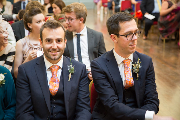Groom and best man wiating for the wedding ceremony at Cutlers' Hall Sheffield