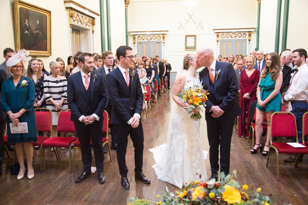 The wedding ceremony at Cutlers' Hall Sheffield