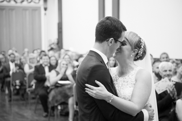 Bride and Groom kiss at the end of their ceremony at Cutlers' Hall Sheffield