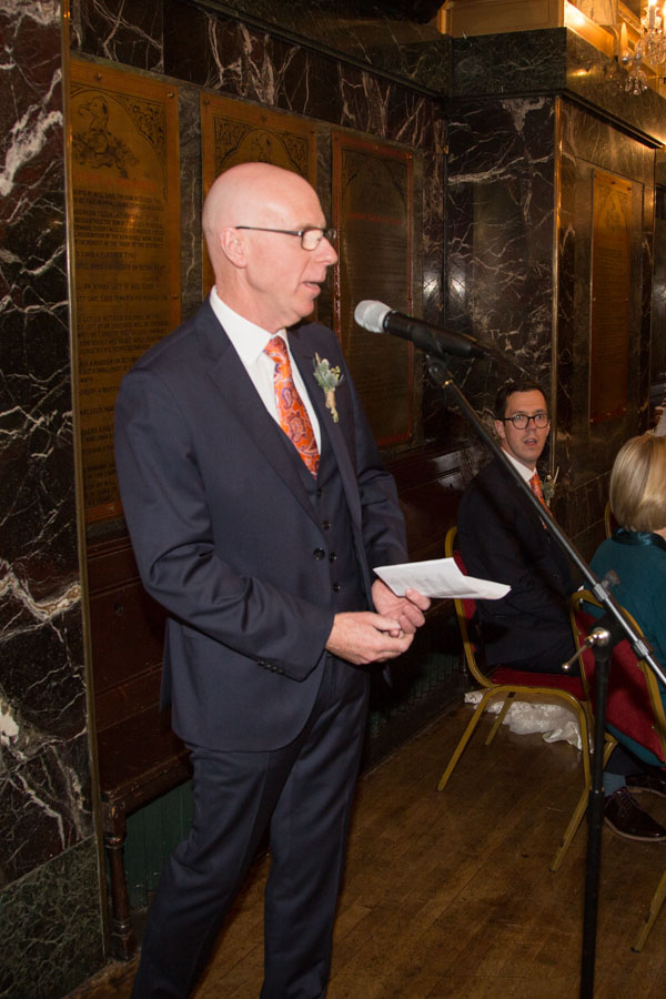 Fathe rof the bride speech at Cutlers' Hall Wedding Sheffield