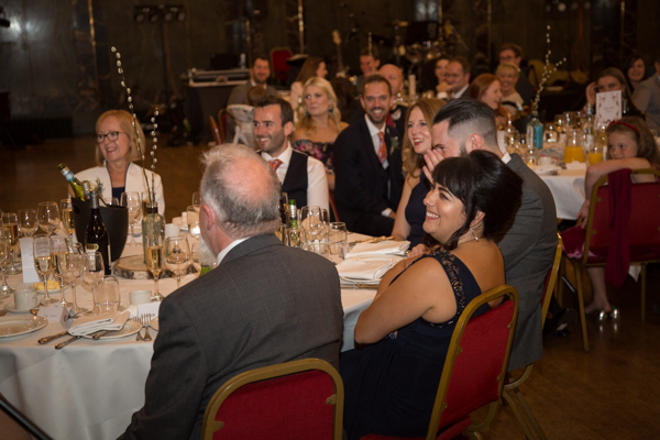 Guests laughing during speeches at Cutlers' Hall Sheffield