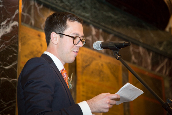 Grooms speech at Cutlers' Hall Wedding Sheffield