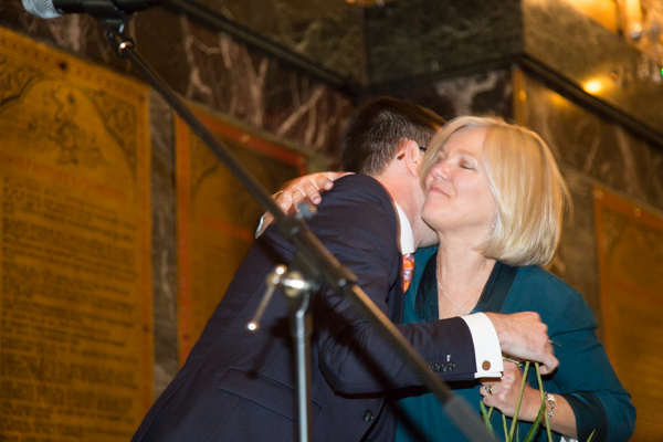 Groom hugging his mum during the wedding speeches at Cutlers' Hall Sheffield