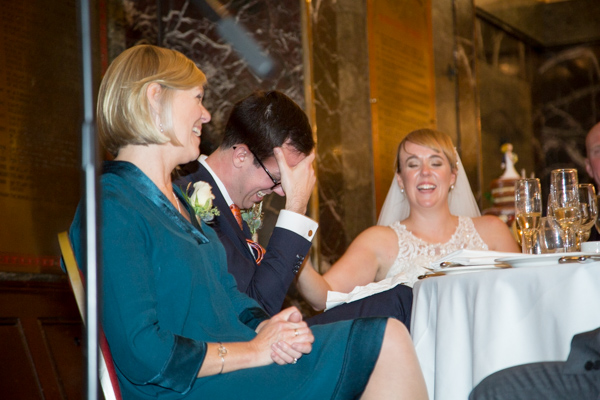 Top table laughing during speeches at Cutlers' Hall Sheffield