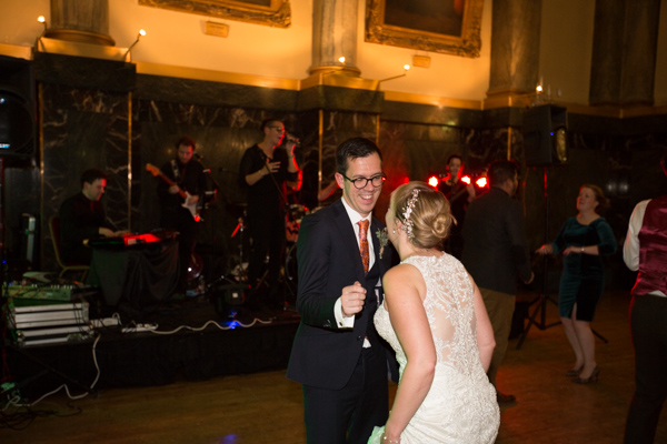 Bride and Groom on the dance floor at Cutlers' Hall Wedding Sheffield