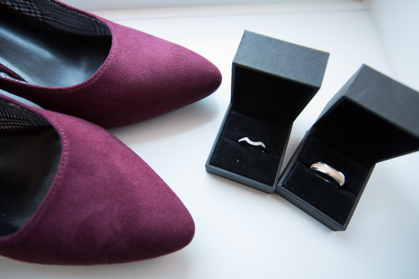 Bridal shoes and wedding rings Barnsley Town Hall Wedding