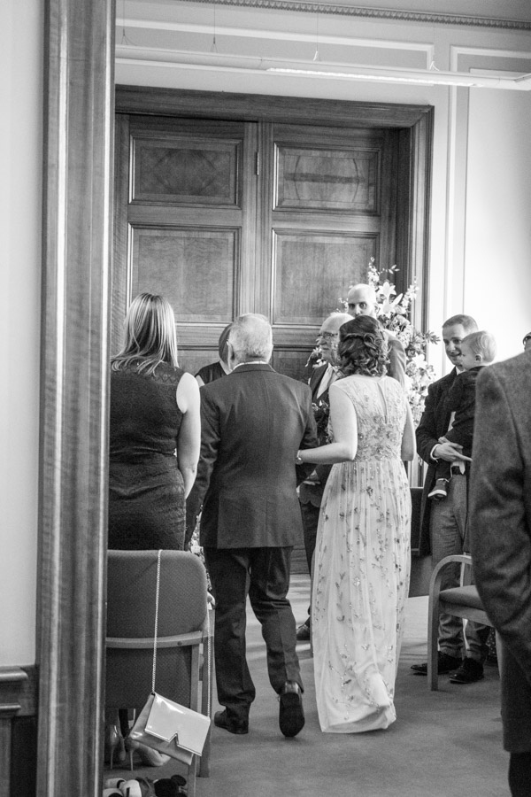 Bride walking down the aisle at Barnsley Town Hall Wedding
