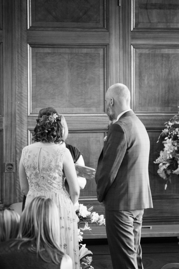 Bride and Groom during their wedding ceremony at Barnsley Town Hall Wedding