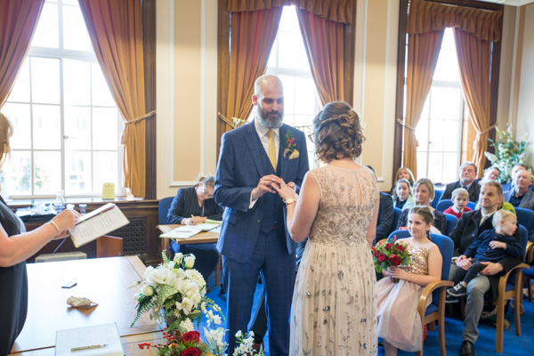 Exvhanging of the rings at Barnsley Town Hall Wedding