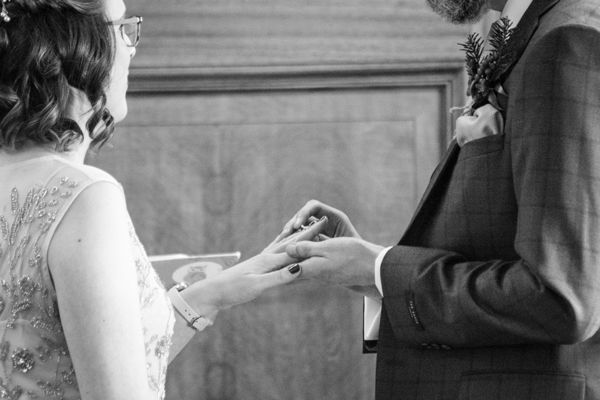 Exchanging of the rings at Barnsley Town Hall Wedding