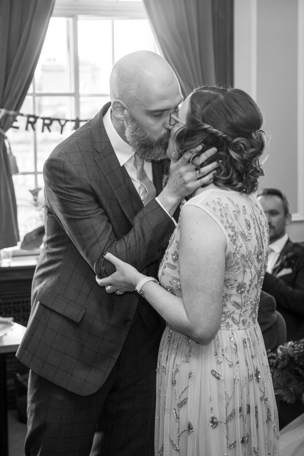 Bride and groom kiss at Barnsley Town Hall Wedding