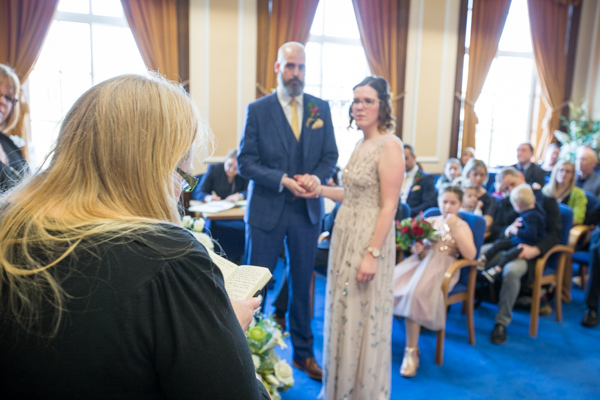 Wedding guest giving a reading at Barnsley Town Hall Wedding