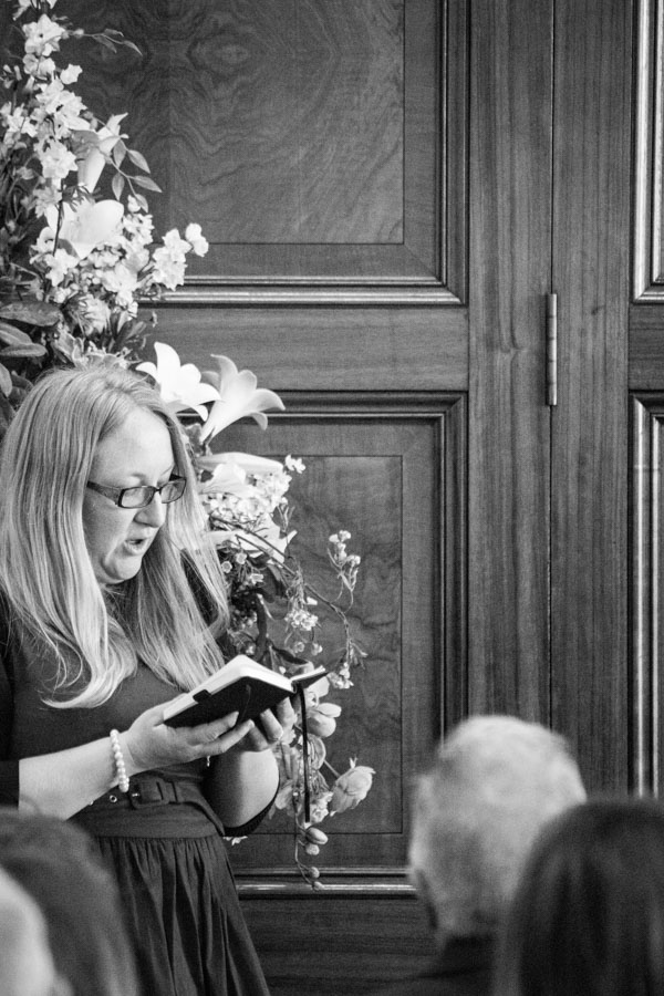 Wedding guest giving a reading Barnsley Town Hall Wedding
