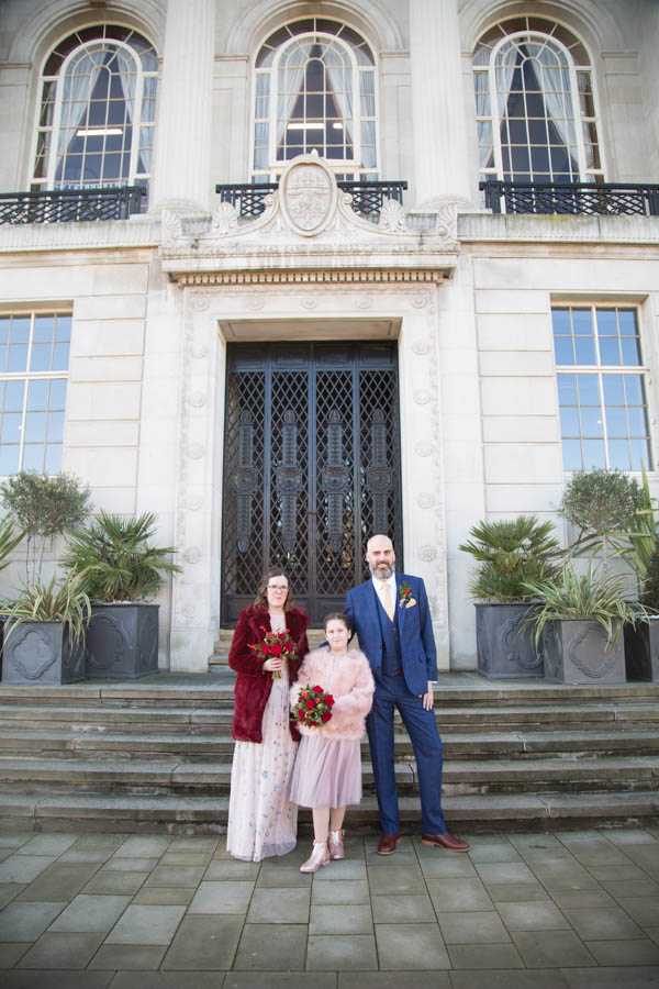 Bride and Groom with their daughter Barnsley Town Hall Wedding