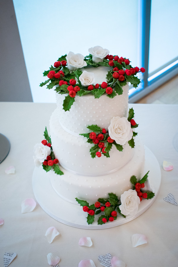 Holly, white rose simple wedding cake at Ibis Styles Hotel Barnsley wedding