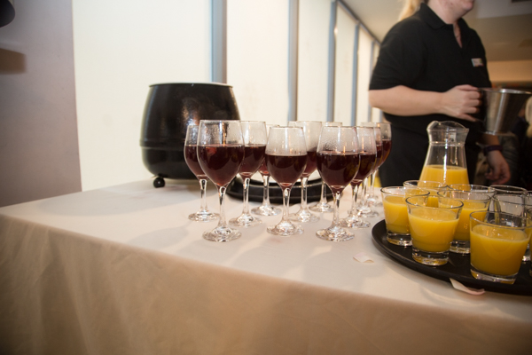 Mulled wine and orange juice arrival drinks at Ibis Styles Hotel Barnsley wedding