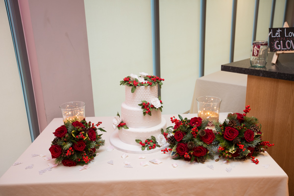 Christmas theme wedding cake at Ibis Styles Hotel Barnsley wedding