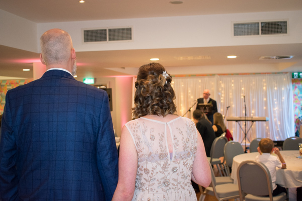 Bride and Groom during wedding blessing at Ibis Styles Hotel Barnsley wedding