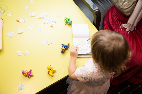 Flower girl colouring at Ibis Styles Hotel Barnsley wedding